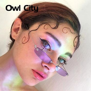 Owl City Vintage Sunglasses Women Small Narrow Sun Glasses Retro Rectangle Sunglass Brand Designer Female Eyewear Rimless Shades