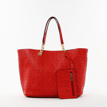 Perforated Double Bag Tote in Coral
