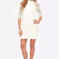 Cutout Lace Sleeve Zipper Back Bodycon Dress