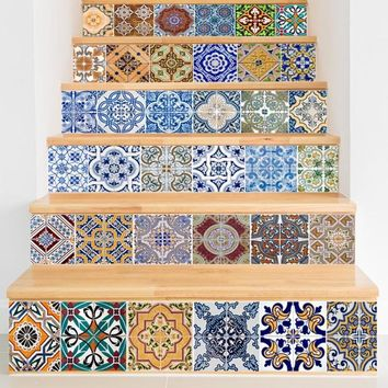 6Pcs/Set Retro Waterproof 3D Print Stair Sticker Wall Tile Decals for Home Living Room Decoration DIY Wall Sticker Art Decals