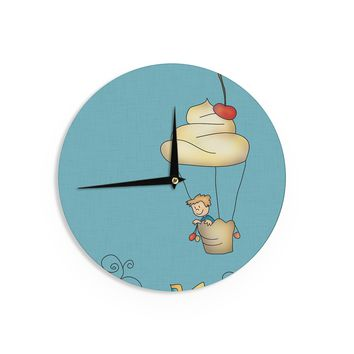 "Carina Povarchik ""Sweet World"" Blue Wall Clock - Outlet Item"