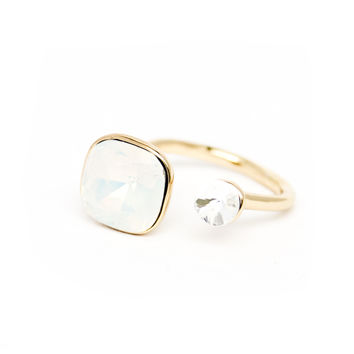 Lyric Gold Ring Set with Clear Crystal