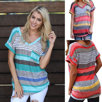 Summer Hot Sale Stripes Print V-neck With Pocket Short Sleeve Ladies Shirt T-shirts [4970305028]