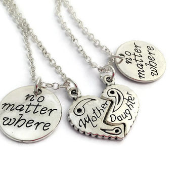 Half Heart Necklace Set, No Matter Where Jewelry, Gift for Mom, Gifts for Daughter, Moving Away Present, Gap Year Token, I'll Miss You Mummy