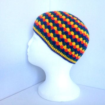 Kids Crochet Hat, Rainbow Beanie, Ages 4 to 8, Multi Coloured Hat, Boys Circus Hat, Retro Crochet Hat, Granny Square Style, Children's Hat