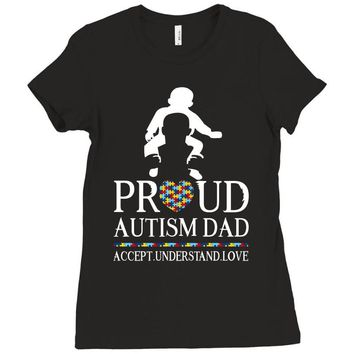 Proud Autism Dad - Autism Awareness Day Ladies Fitted T-Shirt