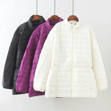Autumn Winter Jacket Women Oversized Coat Cotton Jacket Outwear Ultralight Thin Coat Female Plus size 36,38,40,42,44, K17-78F