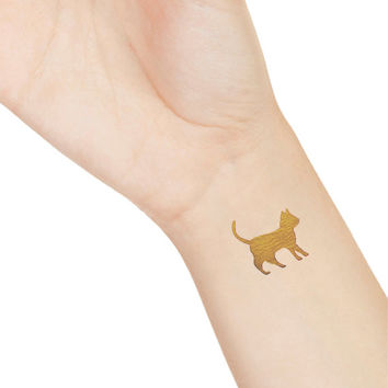 3 Cat Metallic Tattoos, Gold Cat Metallic Tattoos, Temporary Tattoo, Kitty Cat Tattoo