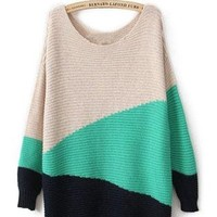 Green Long Sleeve Geometric Asymmetrical Sweater S021
