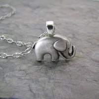 Black Friday Sale Elephant Necklace Antiqued Silver Jewelry Good luck Charm