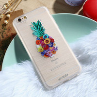 Embossed Case For iPhone 7 6 6s Plus 5 SE Flowers Pineapple Silicone Clear Phone Cases-0410