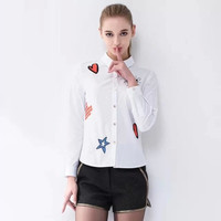 White Embroidered Long-Sleeve Button Collared Shirt