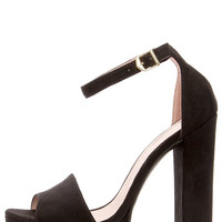 Chinese Laundry Avenue Black Suede Platform Heels