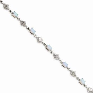 Sterling Silver White Created Opal and Cz Bracelet
