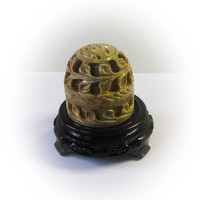 Lovely Hand Carved Vintage Soapstone Box with Carved Wood Pedestal Base