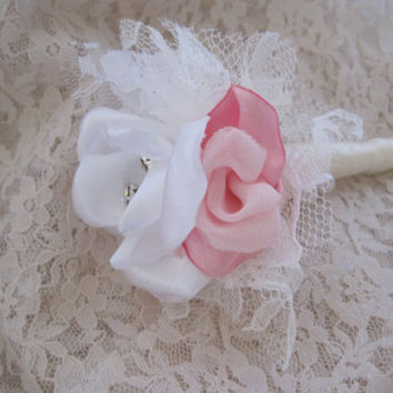 Fabric Flower Boutonniere  Groom, Groomsmen,  Usher, Father of the Bride in Ivory White and Pink Satin and Lace...Custom Orders