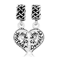 Pugster New Christmas Gifts Sale Cheap Heart Mom Mother Daughter Charm Beads Fit Pandora Jewelry Bracelet