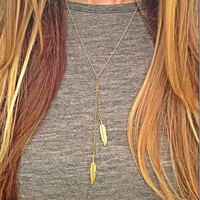 Golden Feather Lariat Necklace