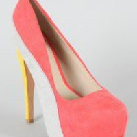 Qupid Penelope-44X Colorblock Stiletto Pump