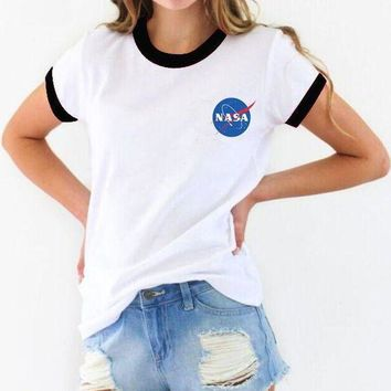 NASA Women Casual Print Short Sleeve Sports Tunic Shirt Top Blouse