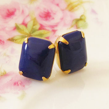 Vintage Navy Blue Jewel Brass Setting Surgical Steel Post Earrings