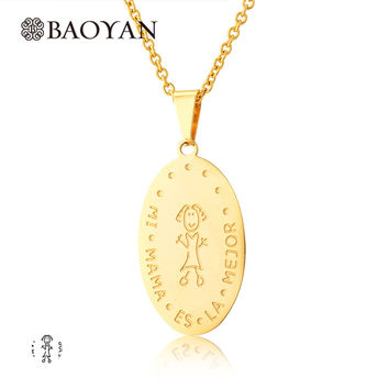 New Brand Carving Mama Oval Pendant Necklace For Women Little Happy Girl Stainless Steel Silver Gold Chain Necklace For WomenN5