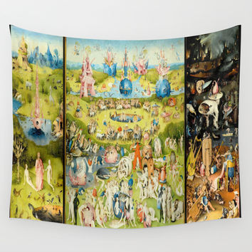 The Garden of Earthly Delights Wall Tapestry by PureVintageLove