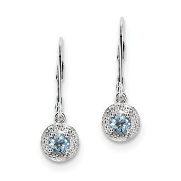 Sterling Silver Aquamarine and Diamond Halo-Style Leverback Earrings