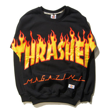 Thrasher Unisex Pullover Pattern Skateboard Cotton Hoodies [9506896455]