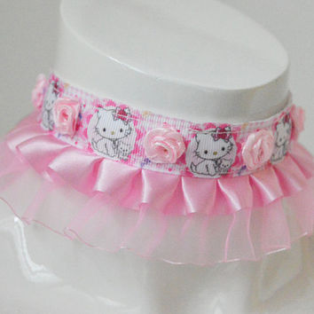 Ddlg day collar - Rosey kitten - fairy kei harajuku little kittenplay kitten play cute pastel choker - kawaii lolita pink necklace