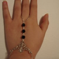 Antique Silver Filigree Black Faceted Beads Victorian Slave Bracelet Gothic Bangle Ring