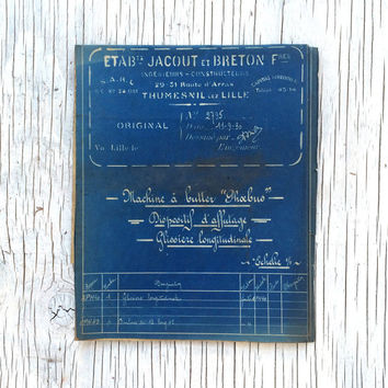 Large French industrial engineering blueprint, circa 1930s. Wonderful colour. Size: 42 x 18.75 inches, 1070 x 475 mm. Gift for guys.