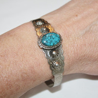 Faux Turquoise Cuff Bracelet Silver Vintage 1960s Jewelry