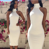2015 Summer Sexy New White Women Bodycon Sleveless Long Maxi dress Evening Party Dress