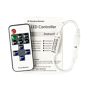 BZONE White 11 Key Mini RF Wireless Remote Controller Dimmer for Single Color LED Strip String Lights