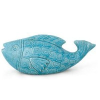 Foreside Ceramic Large Fish Sculpture, Turquoise