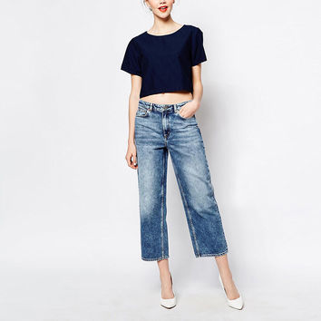 High Waist Wide Jeans Leg Pants Loose Boyfriend Jeans For With High Waist Capris  Jeans Denim SM6