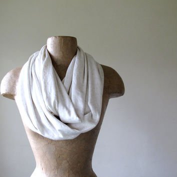 Ivory Infinity Scarf   Lightweight Cotton Jersey Circle by EcoShag