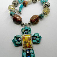 Chunky Turquoise Western Necklace Magnesite Cowgirl Cross Stone Necklace