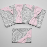 Bridesmaid Gift Set / Bachelorette Favors - Gray Damask Light Pink Bow - Customizable Wedding Cosmetic Cases - Choose Quantity and Bow Style