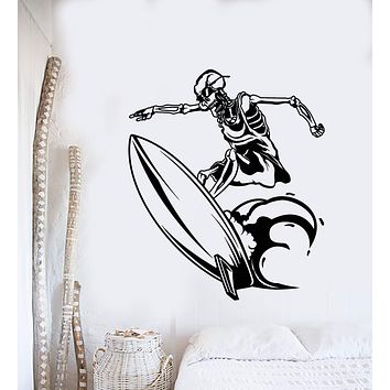 Vinyl Wall Decal Surfing Surfer Skeleton On Surfboard Beach Style Stickers (3129ig)