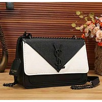 YSL New fashion contrast color women chain shoulder bag crossbody bag Black