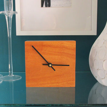Exotic Desk Clock made with Cebil wood from South America | Table Clock | Wood Clock | Minimalist Clock