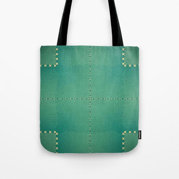 Texture Teal with Beige stitched Abstract Tote Bag by Sheila Wenzel