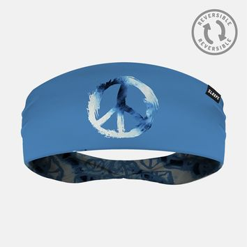 Peace Sign Blue Doublesided Headband