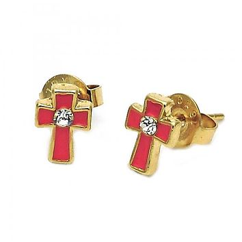 Gold Layered 02.64.0392 Stud Earring, Bee Design, Enamel Finish, Golden Tone