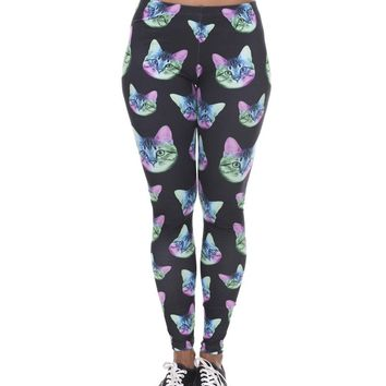 Women's Yoga 3D Print Neon Cat Leggings