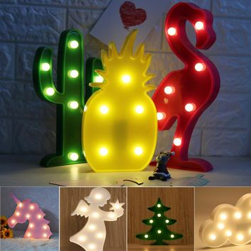 Cute LED Flamingo Unicorn Night Lights Marquee Sign Party Pineapple Cactus Wall Lamp Luminaria Animal LED Home Decor Lights Gift