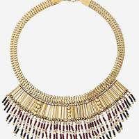 Metal And Seed Bead Fringe Necklace from EXPRESS