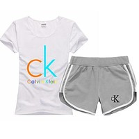 Calvin Klein Women Men Fashion Cotton Sport Shirt Shorts Set Two-Piece Sportswear